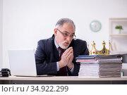 Old king businessman employee at workplace. Стоковое фото, фотограф Elnur / Фотобанк Лори
