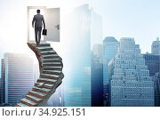 Concept of career ladder and door with businessman. Стоковое фото, фотограф Elnur / Фотобанк Лори
