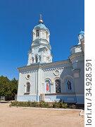 Колокольня Свято-Ильинского храма в городе Саки, Крым (2020 год). Стоковое фото, фотограф Николай Мухорин / Фотобанк Лори