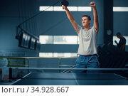 Man wins table tennis match, ping pong player. Стоковое фото, фотограф Tryapitsyn Sergiy / Фотобанк Лори