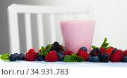 Tasty berry milk smoothie closeup. Стоковое фото, фотограф Яков Филимонов / Фотобанк Лори
