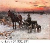 Wierusz-Kowalski Alfred - a Horse-Drawn Sled at Dusk - Polish School... Редакционное фото, фотограф Artepics / age Fotostock / Фотобанк Лори