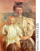 Boznanska Olga - Julia Pugetowa with Her Son - Polish School -. Редакционное фото, фотограф Artepics / age Fotostock / Фотобанк Лори