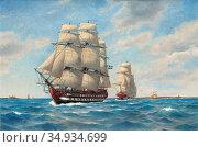 Hagg Jacob - Svensk Eskader I Oresund 1812 - Swedish School - 19th... Редакционное фото, фотограф Artepics / age Fotostock / Фотобанк Лори