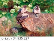 Liljefors Bruno - Crows - Swedish School - 19th Century. Редакционное фото, фотограф Artepics / age Fotostock / Фотобанк Лори