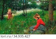 Lundberg Robert - Flickor På Jämtländsk Sommaräng - Swedish School... Редакционное фото, фотограф Artepics / age Fotostock / Фотобанк Лори