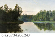 Thörne Alfred - Calm Waters - Swedish School - 19th Century. Редакционное фото, фотограф Artepics / age Fotostock / Фотобанк Лори