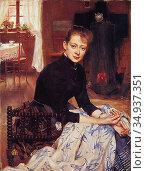 Bergh Richard - My Wife - Swedish School - 19th Century. Редакционное фото, фотограф Artepics / age Fotostock / Фотобанк Лори