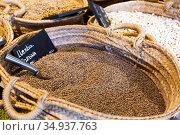 Lentil grains in basket in grocery shop. Стоковое фото, фотограф Яков Филимонов / Фотобанк Лори