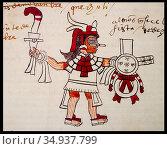 Month Quecholli in Aztec calendar. Codex Tudela, 16th-century pictorial... Стоковое фото, фотограф Juan García Aunión / age Fotostock / Фотобанк Лори