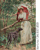 Feron William - Kvinna Med Parasoll - Swedish School - 19th Century. Редакционное фото, фотограф Artepics / age Fotostock / Фотобанк Лори