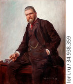 Lundberg Robert - Portrait of a Gentleman - Swedish School - 19th... Редакционное фото, фотограф Artepics / age Fotostock / Фотобанк Лори