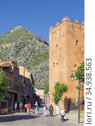 Chefchaouen, Morocco. Tower of the Kasbah, or castle, seen from Place... Стоковое фото, фотограф Ken Welsh / age Fotostock / Фотобанк Лори