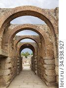 Entrance to the Roman amphitheatre, Merida, Merida Province, Extremadura... Стоковое фото, фотограф Ken Welsh / age Fotostock / Фотобанк Лори