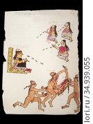 Human sacrifice at Codex Tudela. 16th-century pictorial Aztec codex... Стоковое фото, фотограф Juan García Aunión / age Fotostock / Фотобанк Лори
