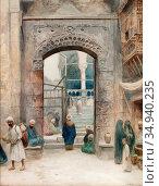 Odelmark Frans Wilhelm - Gata I Kairo 1 - Swedish School - 19th Century... Редакционное фото, фотограф Artepics / age Fotostock / Фотобанк Лори