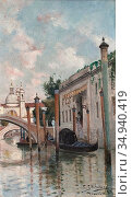 Skanberg Carl - Kanal I Venedig - Swedish School - 19th Century. Редакционное фото, фотограф Artepics / age Fotostock / Фотобанк Лори