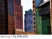 Different Detroit skyscraper buildings walls (2018 год). Стоковое фото, фотограф Сергей Новиков / Фотобанк Лори