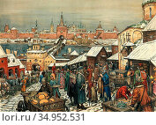 Vasnetsov Apollinari - Novgorod Torg - Russian School - 19th Century. Стоковое фото, фотограф Artepics / age Fotostock / Фотобанк Лори