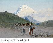 Zommer Richard Karlovich - Caravanserai at the Foot of Mount Kazbek... Стоковое фото, фотограф Artepics / age Fotostock / Фотобанк Лори