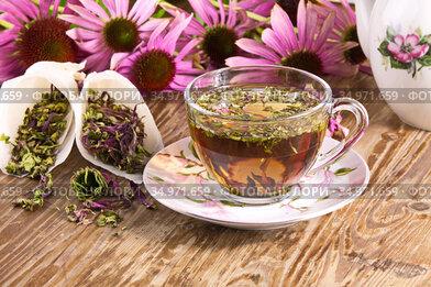 Чайный напиток  с эхинацеей пурпурной (Echinacea purpurea) сушеной,применяется в народной медицине как противовирусное