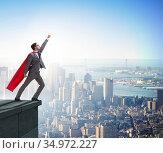 Businessman superhero successful in career ladder concept. Стоковое фото, фотограф Elnur / Фотобанк Лори
