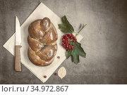 A loaf of white bread on a linen napkin. Стоковое фото, фотограф Galina Tolochko / Фотобанк Лори