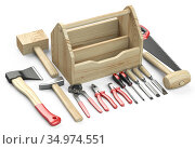 Wooden box for your toolbox. Next to which is an ax, a chisel, a chisel, pliers, a mallet, a hammer, a screwdriver, a wrench, a saw and nippers. Стоковая иллюстрация, иллюстратор Маринченко Александр / Фотобанк Лори