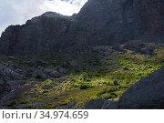 Highland glacial valley with steep slopes, grassy bottom and cloud shadow. Стоковое фото, фотограф Евгений Харитонов / Фотобанк Лори