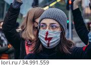Warsaw, Poland - October 26, 2020: Activist blocked the street of... Редакционное фото, фотограф Konrad Zelazowski / age Fotostock / Фотобанк Лори