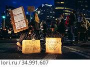 Warsaw, Poland - October 26, 2020: Street blockade in city downtown... Редакционное фото, фотограф Konrad Zelazowski / age Fotostock / Фотобанк Лори