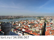 Skyline of Istanbul, as seen from Galata Turm. View of the Buyuk Hendek street in the Beyoglu District. City of Istanbul, Turkey. Стоковое фото, фотограф Bala-Kate / Фотобанк Лори