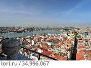 Skyline of Istanbul, as seen from Galata Turm. View of the Buyuk Hendek street in the Beyoglu District. City of Istanbul, Turkey. (2020 год). Стоковое фото, фотограф Bala-Kate / Фотобанк Лори