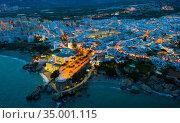 Illuminated view of coastal city of Nerja. Стоковое фото, фотограф Яков Филимонов / Фотобанк Лори