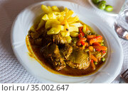 Braised pork cheeks with gravy. Стоковое фото, фотограф Яков Филимонов / Фотобанк Лори