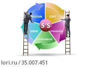 Businessman in 5S workplace organisation concept. Стоковое фото, фотограф Elnur / Фотобанк Лори