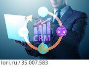 CRM custromer relationship management concept with businessman. Стоковое фото, фотограф Elnur / Фотобанк Лори