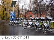 Прокат велосипедов осенью. Редакционное фото, фотограф Victoria Demidova / Фотобанк Лори