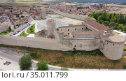 Aerial view of Cuellar Castle in Segovia Province, Leon, Spain. Стоковое видео, видеограф Яков Филимонов / Фотобанк Лори