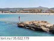Waterside view to the sandy beach of Javea. Spain. Стоковое фото, фотограф Alexander Tihonovs / Фотобанк Лори