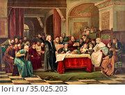 Brozik Wenceslas Vacslav - Christopher Columbus at the Royal Court... Редакционное фото, фотограф Artepics / age Fotostock / Фотобанк Лори