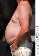 Fat obese overweight portly male. Стоковое фото, фотограф Dennis MacDonald / age Fotostock / Фотобанк Лори