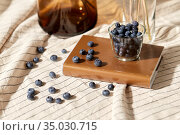 cup of blueberry, book and dried flowers in vases. Стоковое фото, фотограф Syda Productions / Фотобанк Лори