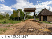 Park entrance, Nshaara gate, Lake Mburo National Park, Uganda, Africa. Стоковое фото, фотограф Morales / age Fotostock / Фотобанк Лори