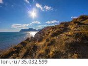 Steep grassy slope. Sea and mountains. Стоковое фото, фотограф Юрий Бизгаймер / Фотобанк Лори