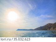 Beautiful Cape on the sea. Стоковое фото, фотограф Юрий Бизгаймер / Фотобанк Лори