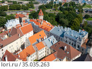 Старый Таллин. Вид с церкви Олевисте. Таллин, Эстония (2012 год). Редакционное фото, фотограф Александр Щепин / Фотобанк Лори