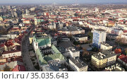 Aerial view of historical part of Rzeszow town at day, Poland. Стоковое видео, видеограф Яков Филимонов / Фотобанк Лори