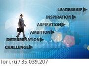 Businessman climbing carrer ladder success factors. Стоковое фото, фотограф Elnur / Фотобанк Лори