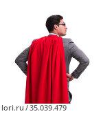 Super hero businessman isolated on white. Стоковое фото, фотограф Elnur / Фотобанк Лори